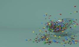Glass platta med mycket små färgrika runda godisar Högen av sötsaker spridde på en turkosbakgrund med fritt utrymme för in Royaltyfri Illustrationer