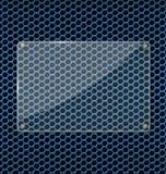 Glass platta på blå aluminum teknologibakgrund Arkivbilder