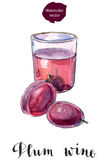 Glass of plum wine Stock Images