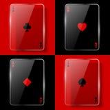 Glass poker aces vector illustration