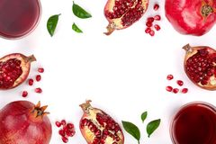 Pomegranate juice with fresh pomegranate fruits isolated on white background with copy space for your text. Top view stock photography