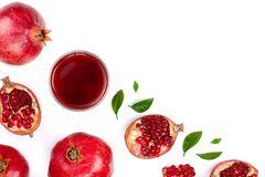 Pomegranate juice with fresh pomegranate fruits isolated on white background with copy space for your text. Top view royalty free stock photo
