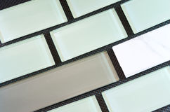 Glass and Porcelain Backsplash Tile Rows Royalty Free Stock Photos