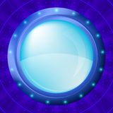 Glass porthole on blue background Stock Image