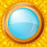 Glass porthole on gold background Royalty Free Stock Image