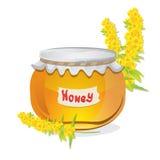 Glass pot full of honey Stock Photos