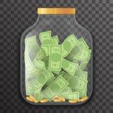 Glass Pot Jar Money Saving Bank Coin Banknote Transparent Background Mockup Icon 3d Realistic Design Vector Illustration. Glass Pot Jar Money Saving Bank Stock Image