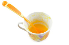 Glass pot with spoon Stock Photo