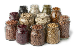 Glass pots with dried beans Royalty Free Stock Image