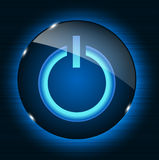 Glass power button icon on abstract background. Royalty Free Stock Photo