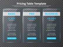 Glass pricing table templates Stock Image