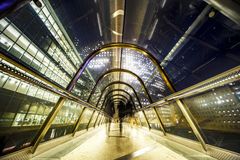 Glass protected gateway at night Royalty Free Stock Photo