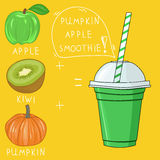 Glass with pumpkin apple smoothie. Natural bio drink, healthy or Stock Photo