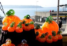Glass pumpkins at Pike Place market in Seattle.  Stock Photography
