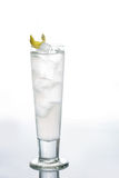 Glass of pure water with ice cubes. Isolated on Royalty Free Stock Photography
