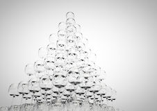 Glass pyramid. 3D render of a wine glass pyramid Stock Photography