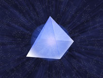 Glass pyramid. Glass transparent pyramid on a background of the star sky Stock Photo