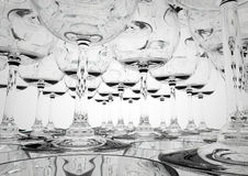 Glass pyramid close-up. Close-up 3D render of a wine glass pyramid Royalty Free Stock Image