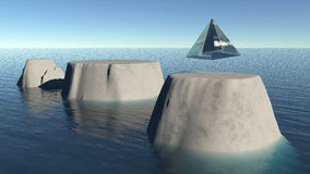 Glass pyramid descending on a flat moutain top. 3D illustration fantasy background Stock Photos