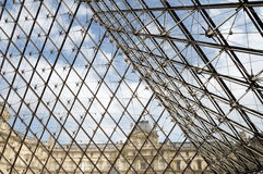 Glass pyramid entrance to the Louvre museum in Paris Royalty Free Stock Photography