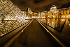 Glass Pyramid in Front of the Louvre Museum, Paris, France Royalty Free Stock Images