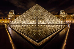 Glass Pyramid in Front of the Louvre Museum, Paris, France Royalty Free Stock Photo