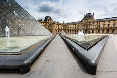 Glass Pyramid in Front of the Louvre Museum, Paris, France Stock Images
