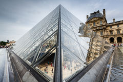 Glass Pyramid in Front of the Louvre Museum, Paris, France Royalty Free Stock Photos