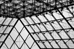Glass Pyramid at the Louvre Stock Images