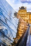 Glass Pyramid and Louvre Museum royalty free stock photos