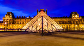 Glass Pyramid of Louvre Museum. Night scenes of Glass Pyramid of Louvre Museum in Paris, France Royalty Free Stock Images
