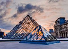 Glass Pyramid of Louvre Museum Royalty Free Stock Image