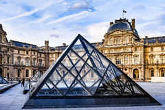 Glass Pyramid and Louvre Museum Royalty Free Stock Image