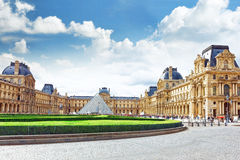 Glass pyramid and the Louvre museum Royalty Free Stock Image
