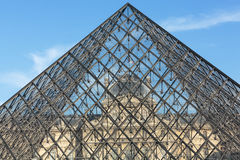 The Glass  Pyramid in Louvre Paris Royalty Free Stock Photo
