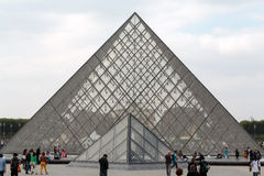 The Glass  Pyramid in Louvre Paris, Royalty Free Stock Images