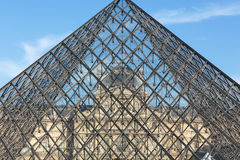 The Glass  Pyramid in Louvre Paris Stock Photos