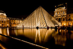 Glass Pyramid of Louvre, Paris at night Royalty Free Stock Photography
