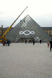 The glass pyramid of the Louvre in Paris Royalty Free Stock Photo