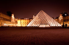 The glass pyramid at night Stock Image