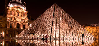 The glass pyramid at night. PARIS - FEBRUARY 28: the glass pyramid at Louvre on February 28, 2009 in Paris stock image