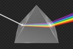 Glass pyramid refraction of light stock illustration