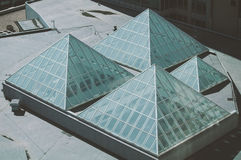 Glass pyramid skylights  Royalty Free Stock Image