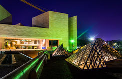 Glass pyramids and the East Building of the National Gallery of. Art at night, Washington, DC royalty free stock photography