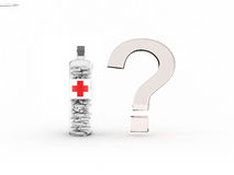 Glass question mark and bottle with pills. Which medicine to choose? Glass question mark and bottle with pills and sign red cross Stock Image