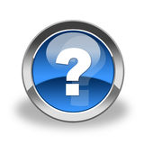 Glass question mark icon. Excellent to use on website. Nice blue color and glossy contour. Soft shadow under icon makes it attractive Royalty Free Stock Photos