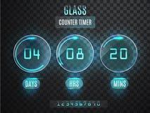 Glass räknaretidmätare Genomskinlig vektornedräkningtidmätare på genomskinlig bakgrund Neonglöd på en mörk bakgrund Countd fotografering för bildbyråer