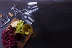 glass röd vit wine Arkivbilder
