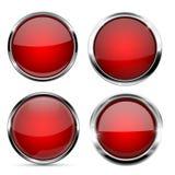 Glass röda knappar Runda symboler 3d med metallramen och reflexion vektor illustrationer