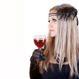 glass rött vinkvinna för härligt mode Arkivfoton
